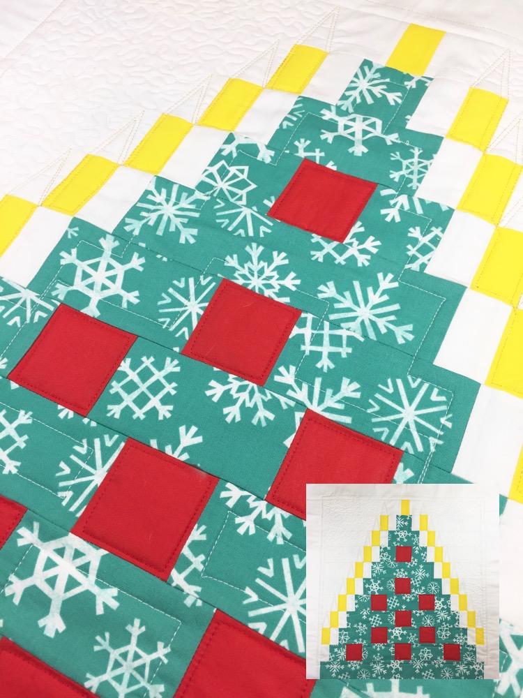 Miniquilt oder Kissen mit abstraktem Weihnachtsbaum