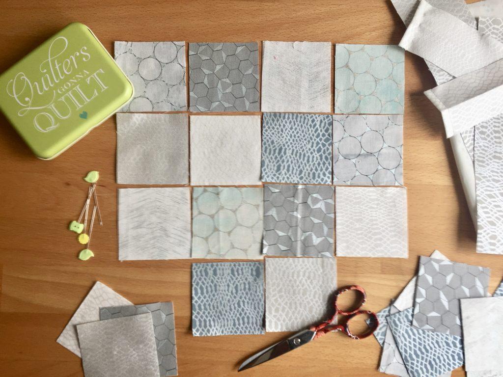 Quadrate zusammenstellen DIY gegen Novemberblues Patchwork-Geschenkbeutel