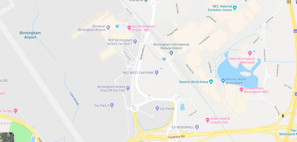 Google Maps Birmingham Airport und Umgebung